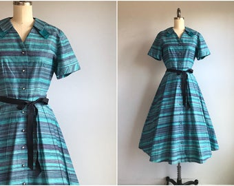 Vintage 1950s Dress / 50s Ombre Chevron Stripe Print Cotton Housedress with Rhinestone Buttons