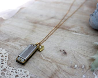 harmonica necklace - gift for music teacher - musical instrument - treble clef - unique necklace - music note - dainty jewelry - teacher