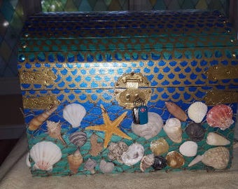 5 Dollars OFF SALE Sailor's Valentine,  Mermaid Treasure Chest, 2 Styles, Personalized, pearls, decals /Carolina sand, shells, Made to Order