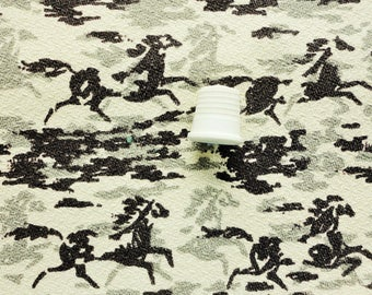 horses running print vintage cotton barkcloth fabric panel