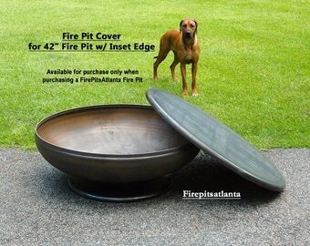 Fire Pit cover for 42 inch Inset Edge Fire Pit Steel Table Top - Shipped with firepit only - FirePit Table Top Fire Pit Snuffer Top Metal