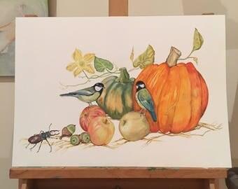ORIGINAL ART, Big Pumpkin with Chickadees, Apples, Acorns & a Stag Beetle, Harvest Festival, Pumpkin Celebrations, Country Fair, Harvest Art