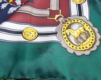 Vintage Alcott And Andrews Silk Equestrian Scarf