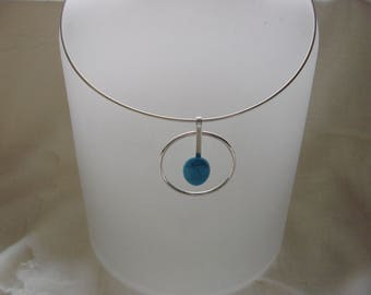 """Sterling Silver Choker Turquoise Gemstone 16"""""""