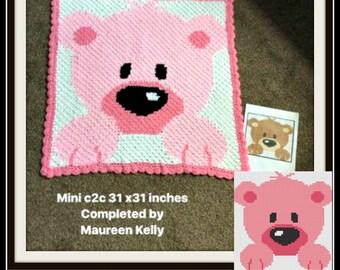 Baby Bear Afghan in Pinks, C2C Graph, Written Word Chart, Bear C2C Graph, Crochet Pattern