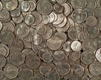 Currency Photograph, Instant Download, Silver Coins Photo, Quarters, Nickels, Dimes, Photo of Money, Banner Art, Photoshop Overlay, Money