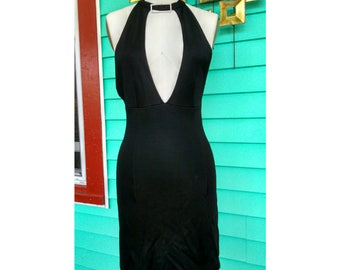Rare Vintage 1970s Paco Rabanne Little Black Backless Disco Dress