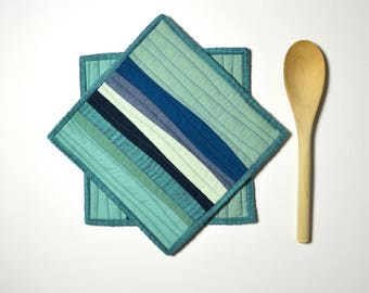Teal Pot Holders, Pot Holders, Modern Kitchen Decor, Teal, Aqua, Blue, Blue Hot Pads, Hostess Gift