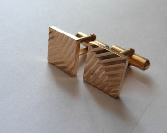 Vintage Cufflinks French Designer Engine Turned Gold Filled Square Cuff Links