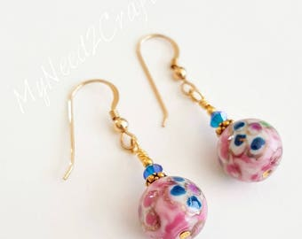 Lavender and Pink Porcelain earrings