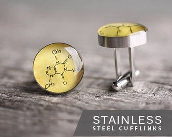 Caffeine molecule cufflink, Surgical steel cuff link, Coffee, gift for him, father's day gift, molecule cufflinks