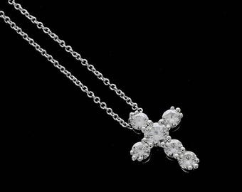 0.73ct Forever One Moissanite Cross Necklace, Gold Cross Pendant, Religious Symbol Necklace, Christianity Cross, Six Stones Moissanite Cross