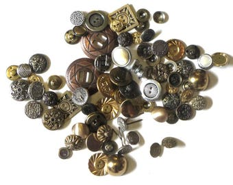 Metal Buttons Gold Silver Brass Assorted Mirror Back Twinkles and Heraldic Designs Vintage to Newer