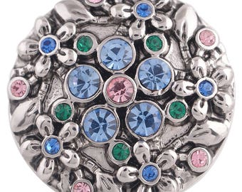 1 PC - 18MM Flowers Rhinestones Silver Charm for Snap Jewelry KC5349 CC3597