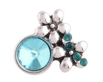 1 PC - 12MM Blue Flowers Rhinestones Silver Charm for Snap Jewelry KS6178-s CC3868