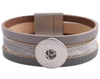 "1 Gray Leather Bracelet - 6.75"" FITS 18MM Candy Snap Charm Jewelry Silver KC0040 CJ0818"