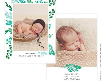 INSTANT DOWNLOAD - PSD 5x7 Birth Announcement Template -  E1491