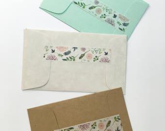 Bridal Shower Tea Party Favors Scented Mini Sachets Dainty Flowers Leaves Botanical Design Mini Envelopes Mint Green Cream Linen Kraft Brown