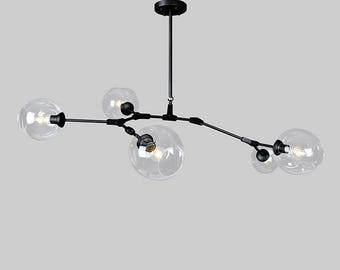 5 PC Clear With Black Branching Chandelier Hardware Blown Glass Lighting / Pendant Lights / Branching Chandelier Glass