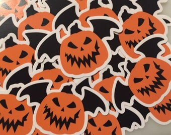 Jack o lantern bat sticker