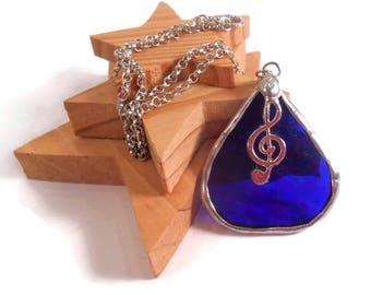 Blue Glass Teardrop G Clef Music Pendant Stained Glass Necklace Hammered Blue Glass Pendant Necklace Handmade Jewelry Blue Glass Jewelry