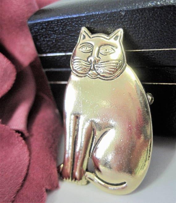 Laurel Burch Cat Brooch -  Signed Designer  - Gold Tone Cat