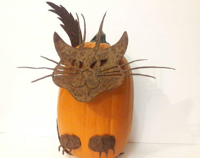 Cute Halloween Cat -- Cat Decor for Fall -- Recycled Metal Cat -- Cat Pumpkin Decoration -- DIY Halloween Pumpkin Cat -- Rusty Cat
