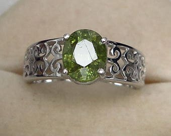 2.27 Ct Natural Demantoid Garnet Green Yellow Unheated Ring Silver 925