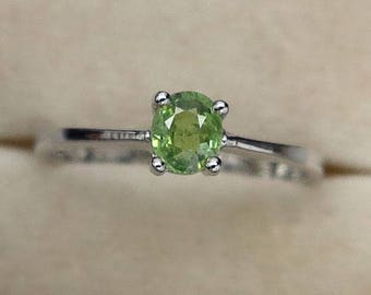 0.38 Ct Natural Demantoid Garnet Green Yellow Unheated Small Ring Silver 925