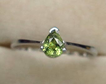 0.37 Ct Natural Demantoid Garnet Green Yellow Unheated Small Ring Silver 925