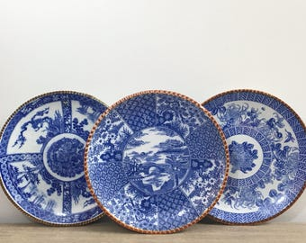 Antique Japanese Cobalt Blue White Charger Set of Three  Transferware Igezara Plates Meiji Period Asian Chinoiserie Chic Decor