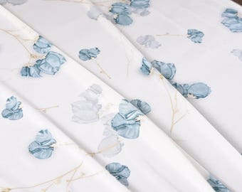 """Stretchy Satin silk Fabric, beautiful blue flowers in white, 55"""" 19 m/m fashion apparel fabric for dresses, shirts, blouse, by the yard"""