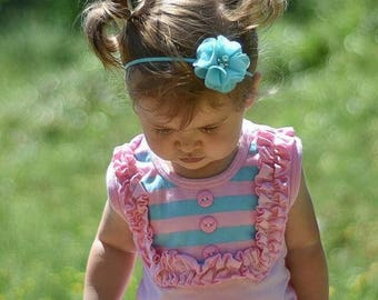 Newborn Baby Petite Headband. Photo Prop. Aqua blue with Rhinestones & Pearls Preemie  Wedding