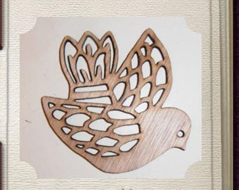 Fancy Bird Christmas Ornament - Laser Cut Wood
