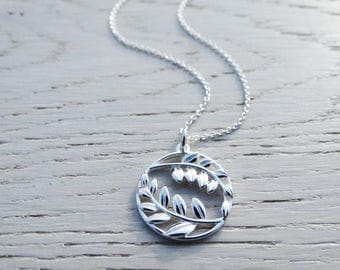 Silver Leaf Necklace, Circle Pendant, Sterling Silver