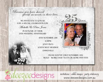 Wedding Anniversary Invitation - 25th Silver - YOU PRINT - A001
