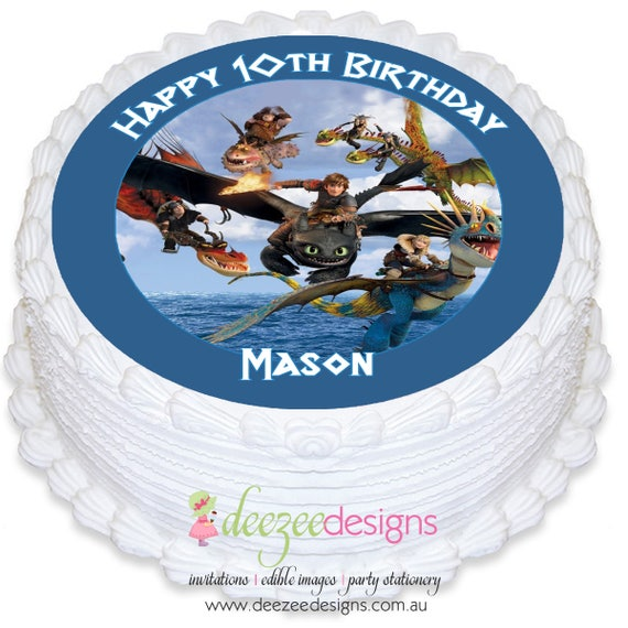 How to train your dragon round edible icing cake topper pre cut il570xn ccuart Gallery