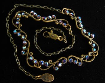 SHELLY RENEE Dainty Signed Rhinestone Necklace in Bronze Tone Metal with Rhinestones that Reflect Deep & Light Blues, Bits of Red/Purple