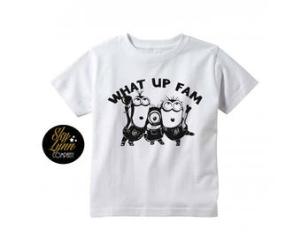 Minion Fam Unisex Shirt or Bodysuit Black or White Fun Embroidered Tee