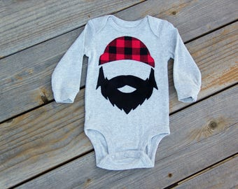 Baby Lumberjack Bodysuit, Applique Woodland, Buffalo Check Shirt, Wilderness Man, Logger, Mountain Man Shirt, Bearded Man Shirt