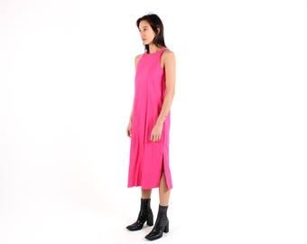 90s Minimal LINEN Fuchsia Hot Pink Simple Loose / Relaxed / Floaty Summer Dress