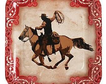 Wild West Dinner Plates, Cowboy Paper Plates, Western Dinnerware, Luncheon Plates