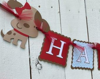 Puppy Birthday Banner/ Red/ White/ Navy/ Light Blue Gingham/ Puppy Party/ Puppy Banner/ Dog Party Banner/ Custom Birthday Banner