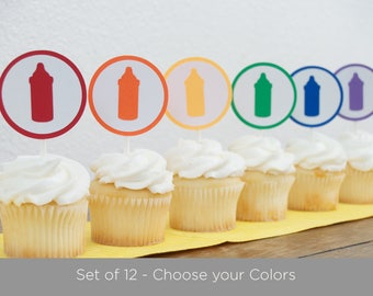 Set of 12 - Baby Shower Cupcake Toppers - Bottle Baby Shower - Baby Shower Decorations