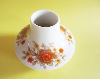 Little German Vintage White Procelain Flower Vase with Orange and Yellow Flowers, Seltmann Weiden Bavaria