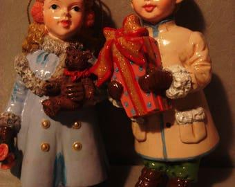 Vintage 1950s Girl and Boy Christmas Ornaments