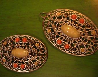 Vintage Boho Oval Multi Colored Drop Dangle Earrings