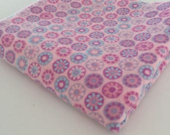 "Purple and Pink Floral Baby Flannel Fabric  - 10"" x 20"""