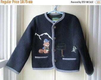ON SALE Boy's Vintage Italian Wool Sweater / Coelweik Sweater / Vintage Navy Blue Wool Blend Sweater / Size XS / 3T to 4
