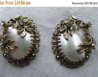 LAST CHANCE Romantic Mother of Pearl Silver Tone Filigree Rhinestone Earrings, Retro Victorian Style,Vintage MOP Studs, Gift For Her, Vintag